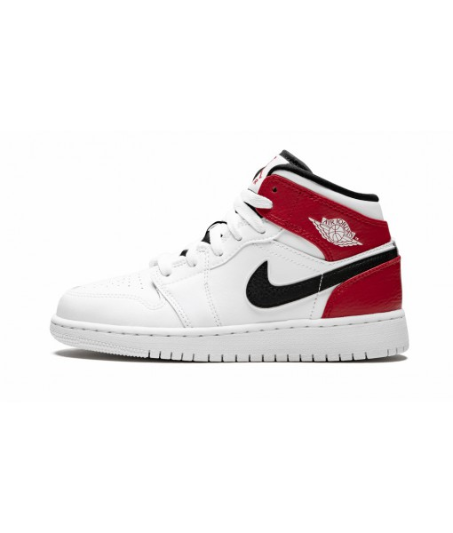 Air Jordan 1 Mid (GS) White/Gym Red/Black Kid's Sneaker