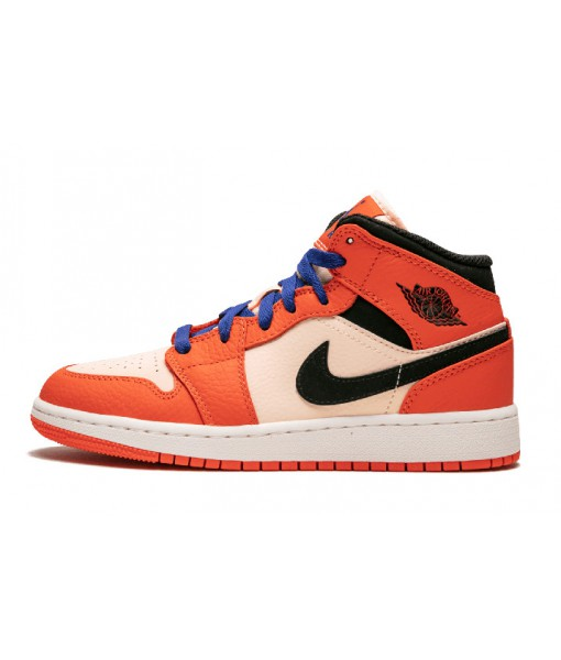 Young Men's Sneaker-Air Jordan 1 Mid SE GS Team Orange